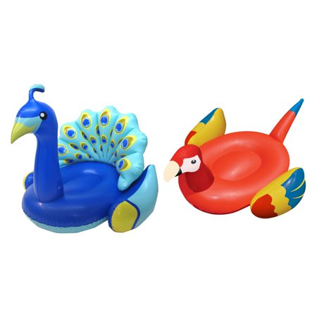 Swimline Giant Inflatable Peacock Swimming Pool Ride On & Tropical Parrot Float](Giant Parrot)