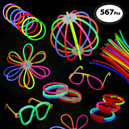 Pack of 567 Glowing Sticks - 250 Glow Sticks + 250 Connectors + 67 Connectors for Glow Necklace + Flower Balls + Triple Butterfly Bracelets and Luminous Glasses - Party Favors for Kids/Adults - Glass In Glow Sticks