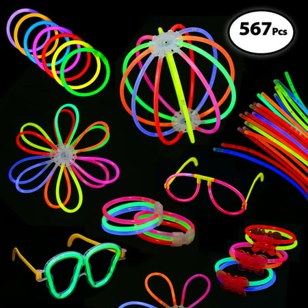 Pack of 567 Glowing Sticks - 250 Glow Sticks + 250 Connectors + 67 Connectors for Glow Necklace + Flower Balls + Triple Butterfly Bracelets and Luminous Glasses - Party - Glow In The Dark Rave Wear