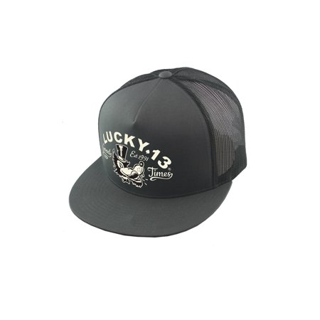 - Lucky 13 The Mr. Wolf Snapback Trucker Hat Charcoal
