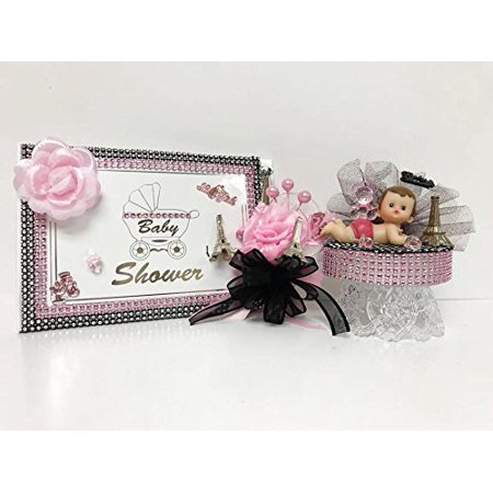 Baby Shower Themes Girl (Paris Baby Shower Its A Girl Theme Mom to Be Guest Book Corsage Cake)