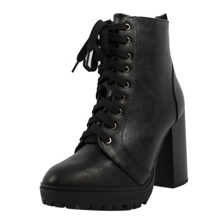 Soda Women's Military Combat Lace Up Lug Platform Chunky Block Heel Ankle Boot