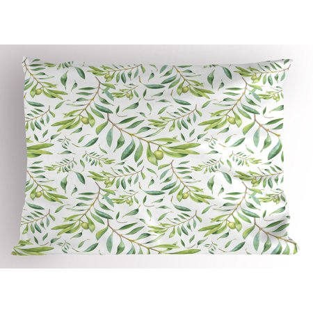 Green Leaf Pillow Sham Watercolor Art Style Olive Branch Mediterranean Tree Organic, Decorative Standard Size Printed Pillowcase, 26 X 20 Inches, Pale Green Reseda Green White, by -