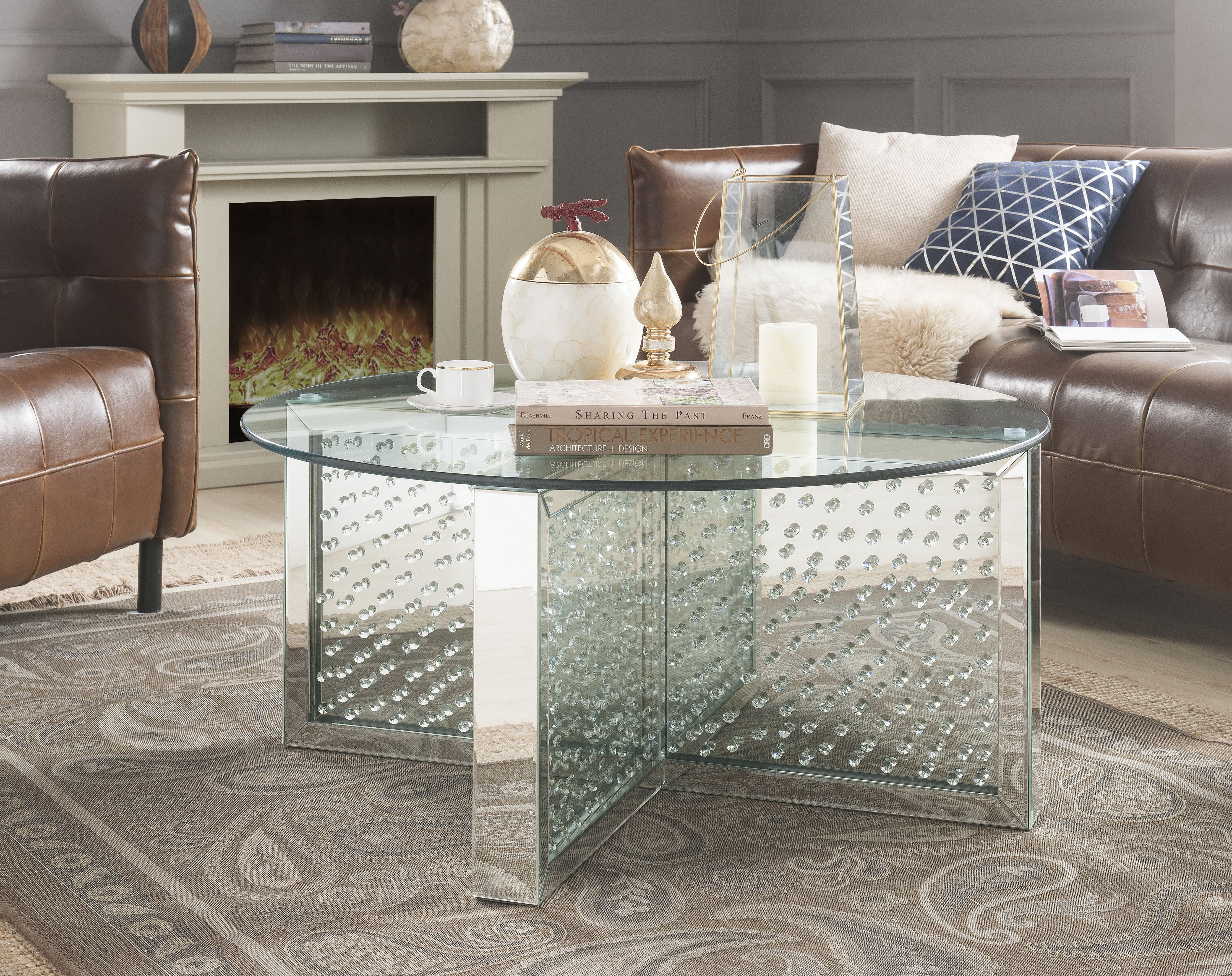 - ACME Nysa Round Coffee Table In Mirrored And Faux Crystals