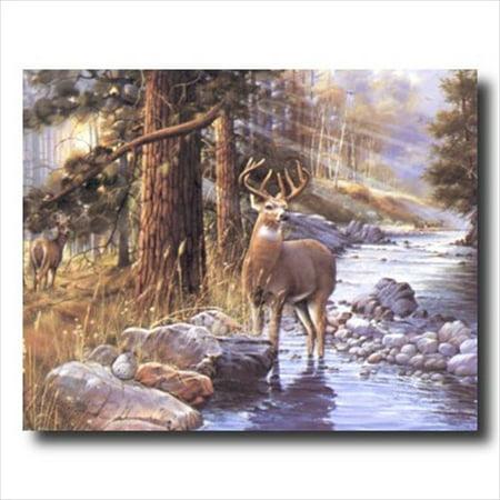 Buck Deer Doe Lake Cabin Lodge Wall Picture Art Print