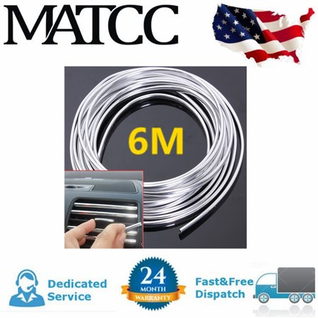 20FT Chrome Moulding Trim carstrip Strip Roll For Car Door Edge Scratch Guard Bumper Grille Interior Protector Cover Universal Vehicle SUV Van Chrome Roll File