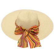 womens Ivory Multi Color Band Bow Chain Detail Wide Brim Sun Hat
