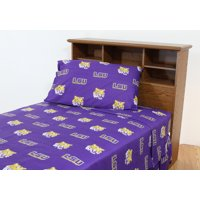 LSU Tigers 100% cotton, 4 piece sheet set - flat sheet, fitted sheet, 2 pillow cases, Full, Team Colors