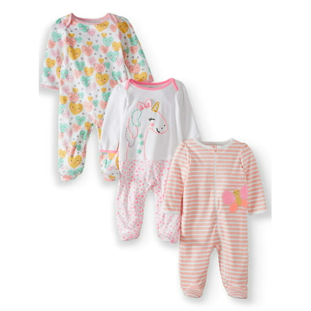 Wonder Nation Inverted zipper sleep n play & coveralls, 3pc pajama set (baby girls)](Girls Button Up Pajamas)