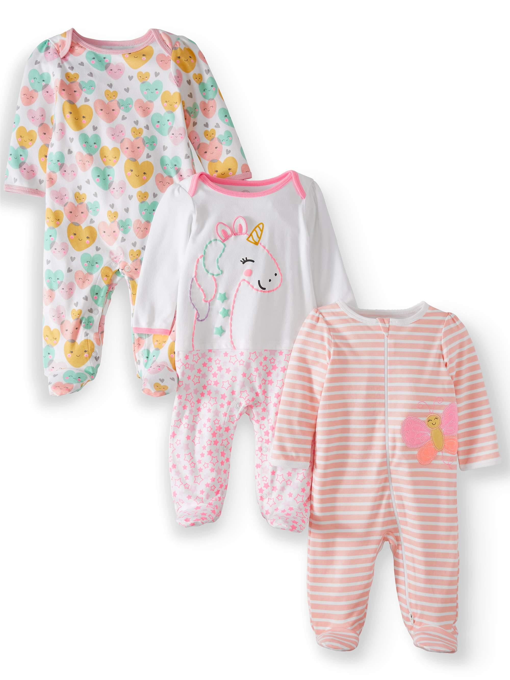 Inverted Zipper Sleep N Play & Coveralls, 3pc Pajama Set (Baby Girls)