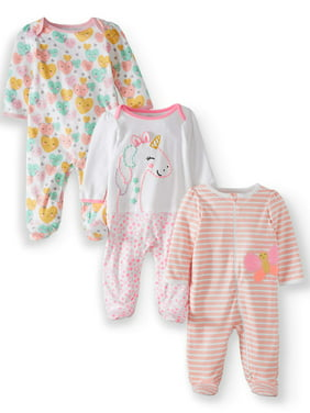 5c032dad Product Image Wonder Nation Inverted zipper sleep n play & coveralls, 3pc  pajama set (baby girls