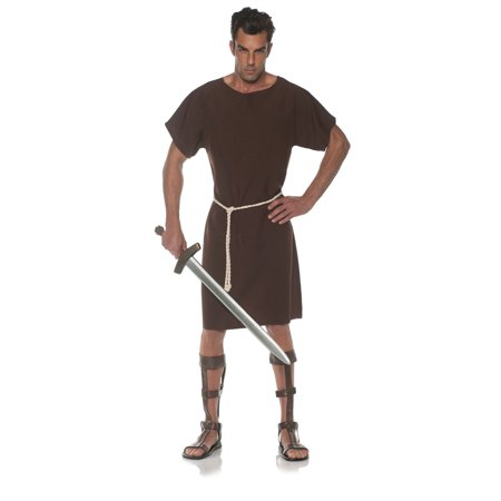 Brown Toga Mens Adult Greek Roman Soldier Halloween Costume - Greek Costume Men