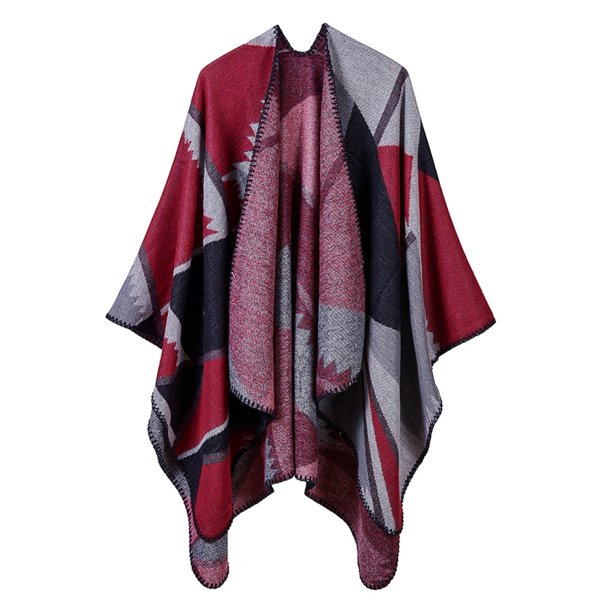 Vintage Women Faux Cashmere Poncho Cardigan Sweater Geometric Print Capes Shawl Scarf Loose Outerwear