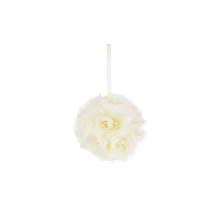 Mega Crafts - Ivory Artificial Rose Pomander Kissing Ball 6'' | Hanging Ribbon Fabric Flower Décor | Wedding Receptions, Party Decorations, Backdrop Wall, Events, Birthdays & Baby Showers (Make Fabric Wall Hanging)