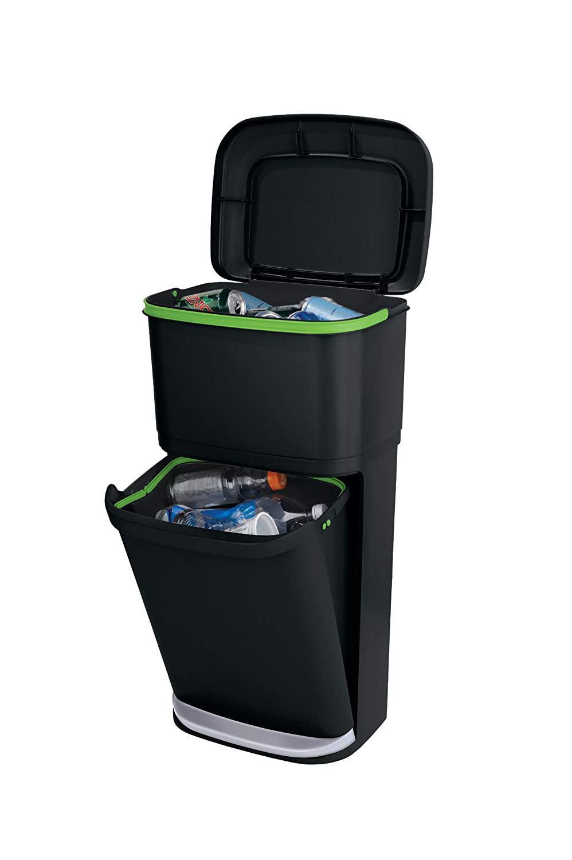 Rubbermaid Double Decker 2-in-1 Recycling Modular Bin Liner Lock 13 gal Plastic