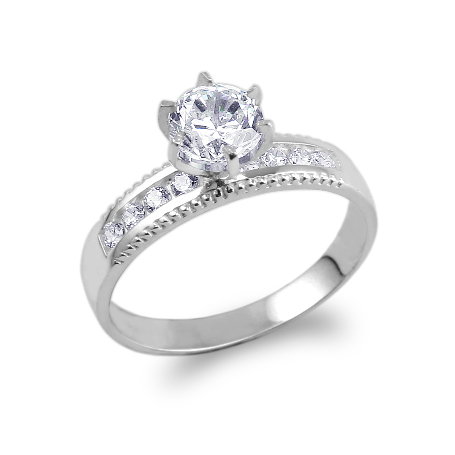 JamesJenny 10K White Gold 0.8ct CZ Beautiful Wedding Solitaire Ring Size 4-10