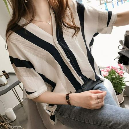 Women Loose V Neck Stripes Short Sleeve Blouse black M