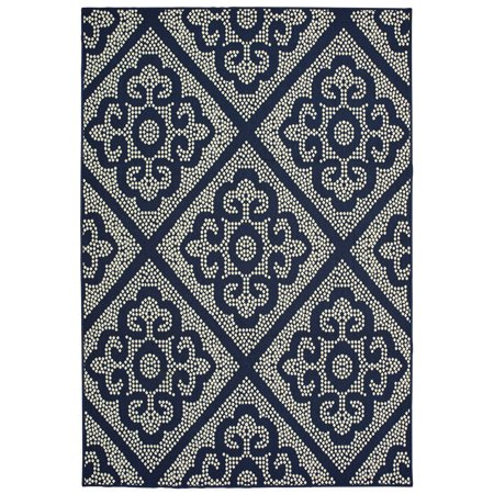 Diagonal Accent - Moretti Parker Area Rugs - 3804B Contemporary Navy Dotted Circles Curves Diagonals Rug