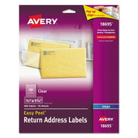 Avery Matte Clear Easy Peel Return Address Labels, Inkjet, 2/3 x 1 3/4, 600/Pack