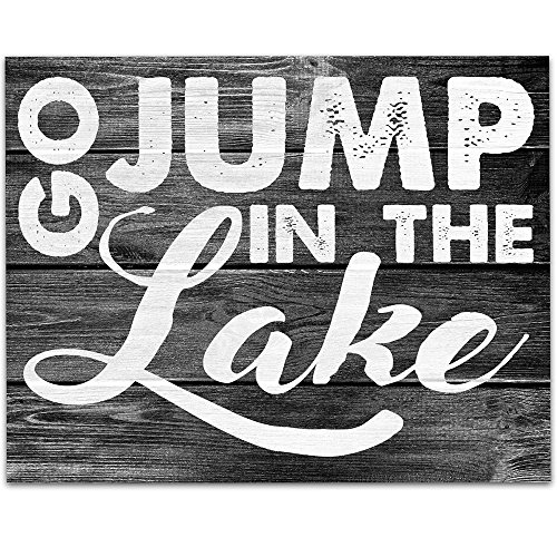 Go Jump In the Lake Art Print - 11x14 Unframed Art Print - Perfect Lake House and Cabin Decor (Printed on Paper, Not Wood)