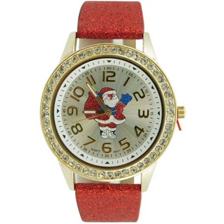 Nightmare Before Christmas Watch - Christmas Watch Easy Read Santa Claus Dial Red Glitter Faux Leather Band