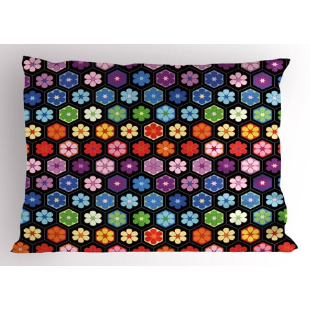 African Pillowcase - Flower Pillow Sham Colorful Vibrant Daisy Blossom Motifs Classic Hexagonal Comb Pattern African Flower, Decorative Standard Size Printed Pillowcase, 26 X 20 Inches, Multicolor, by Ambesonne