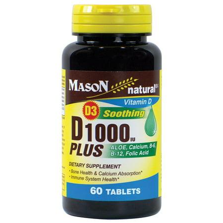 Mason vitamines D 1000iu plus Aloe, le calcium, B6, B12, acide folique comprimés, 60 Ct