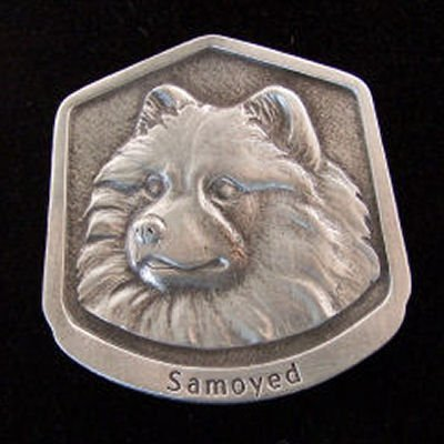 Samoyed Fine Pewter Dog Breed Ornament The sculpted image of your pet is surrounded with a wreath of holly and ivy. You will treasure this ornament for years to come. hey are made of Fine Pewter and come in a Christmas gift box for storing. Lindsay Claire is a Canadian manufacturer of Fine Pewter Gifts and Collectibles.  Each pewter item is cast in our shop from fine pewter and meticulously hand polished to a satin finish.Ornament is approximately 3  and has a satin cord attached for hanging.