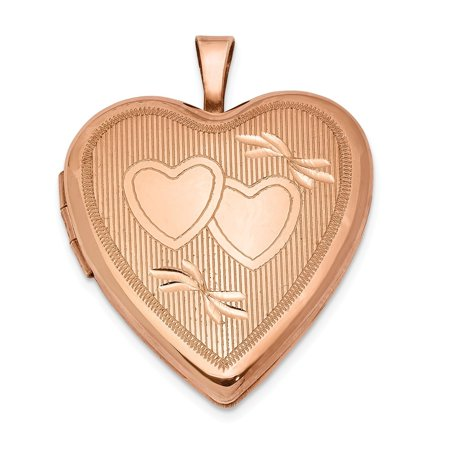 Roy Rose Jewelry Sterling Silver Rose Gold-plated 20mm Double Hearts Heart Locket 20 Mm Double Hearts