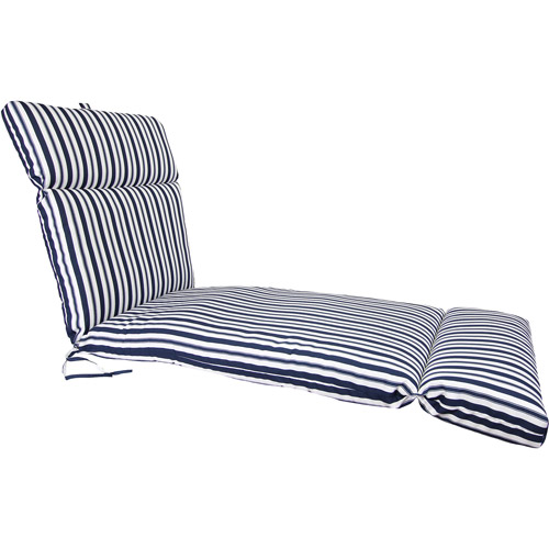 Jordan Manufacturing Stripe Outdoor French Edge Chaise Cushion, Multiple Patterns