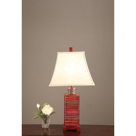 Square Belled Shade Table Lamp With Carved Base Red Set of -
