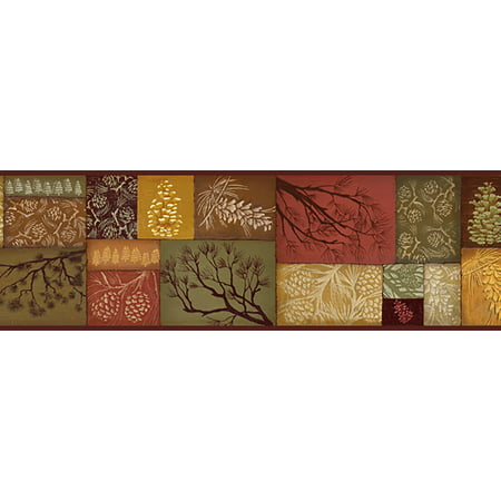 Brewster Home Fashions Borders by Chesapeake Monde Pinecone Branch Collage 15