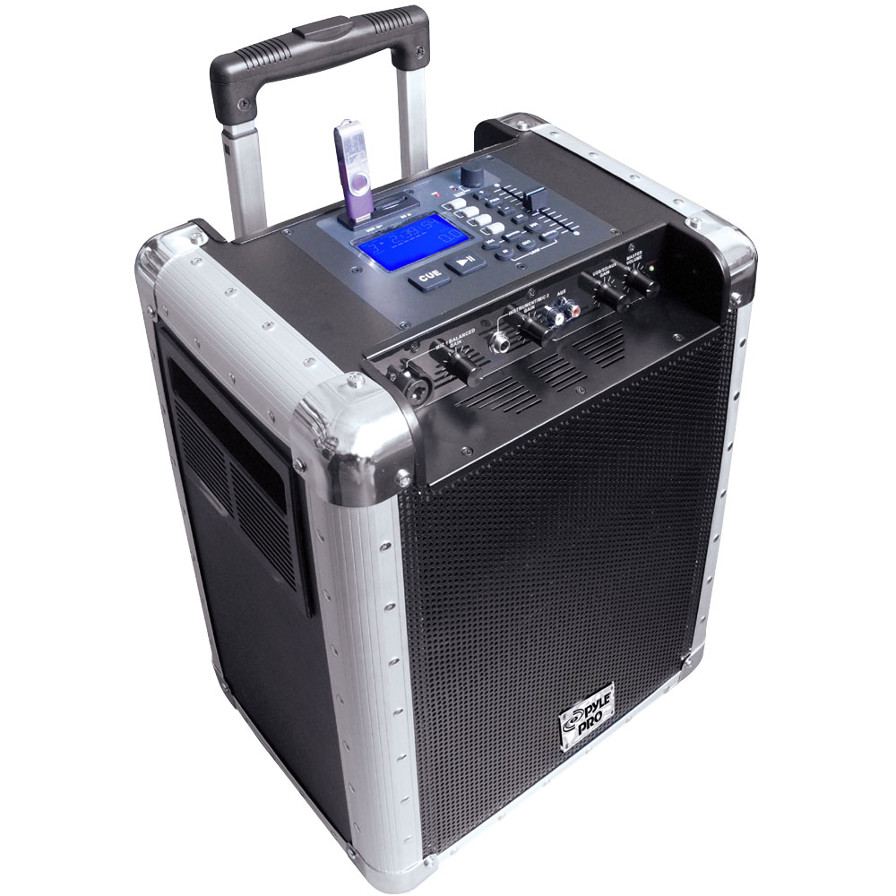 Pyle PCMX265B Battery Powered Portable Pa System With Usb/sd, Dj Controls, And Aux Inputs