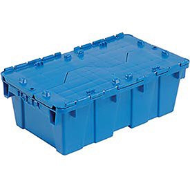Distribution Container With Hinged Lid, 19-5/8x11-7/8x7, Blue, Lot of 1