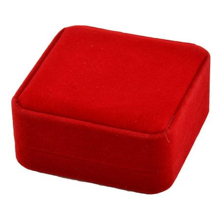 Unique Bargains Anniversary Birthday Velvet Square Shape Bracelet Jewelry Gift Box Red 9 x 9cm