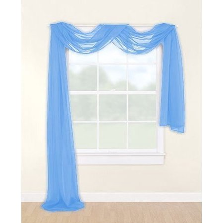 LuxuryDiscounts Beautiful Elegant Solid Sky Blue Sheer Scarf Valance Topper 40