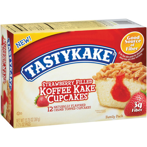Tastykake Koffee Kake Strawberry Filled Cupcakes, 12ct