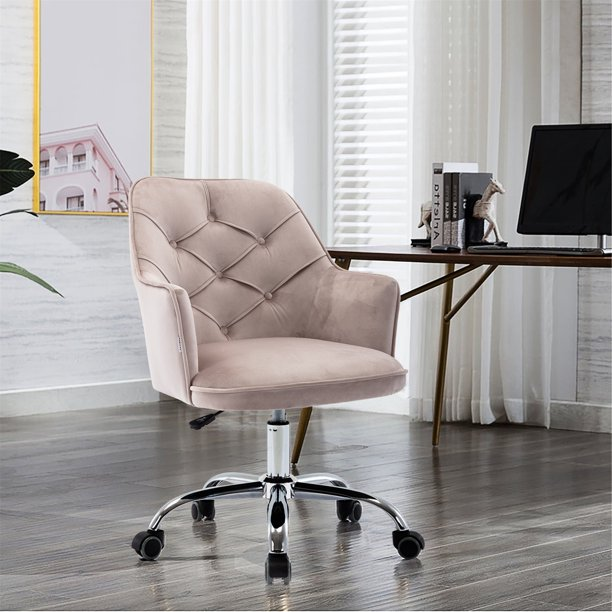 Swivel Chairs For Living Room Modern Velvet Vanity Chair With Wheels Ergonomic Office Arm Chair With Padded Back Seat Height Adjustable Mid Back Computer Desk Chair For Bedroom Gray Ll10 Walmart Com