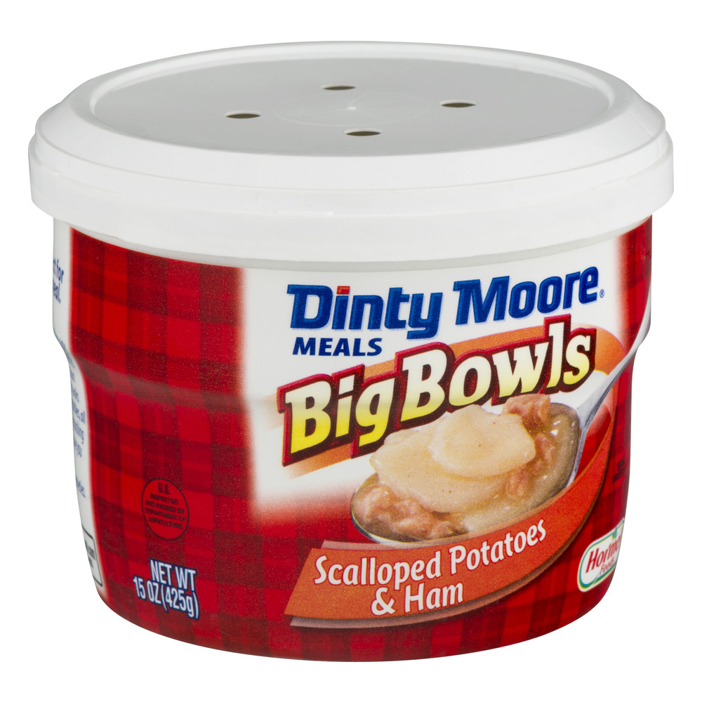 DINTY MOORE® Scalloped Potatoes & Ham Big Bowls 15 oz. MICROWAVE on chicken in microwave, vegetables in microwave, soup in microwave, black beans in microwave, milk in microwave, cranberry sauce in microwave, rice in microwave, pasta in microwave, steak in microwave, butter in microwave, turkey in microwave, fruit in microwave, salmon in microwave, sugar cookies in microwave,