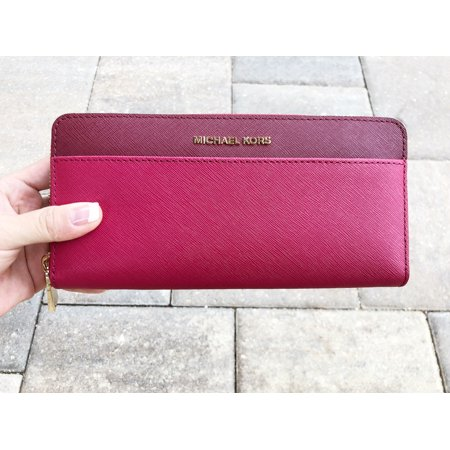 Fabric Continental Wallet - Michael Kors Money Pieces Pocket Zip Around Continental Leather Wallet Pink Red