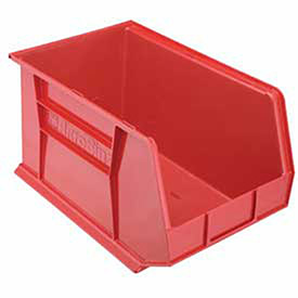 """Plastic Stacking Bin, 11""""W x 18""""D x 10""""H, Red, Lot of 6"""