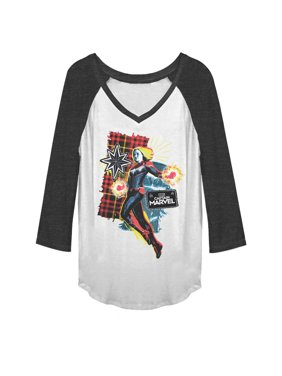 2b8f5155ed20e Product Image Marvel Juniors  Captain Marvel Flannel Patch Print Baseball  Tee