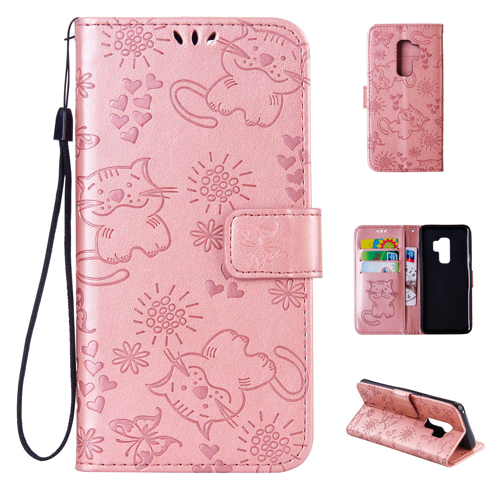 Galaxy S9 Plus/ S9+Case Girls, Allytech PU Leather Butterfly Cat Ultra Slim Folio Flip Stand Magnetic Shock-Absorbing Credit Cards Holder Wallet Case Cover for Samsung Galaxy S9 Plus, Rosegold