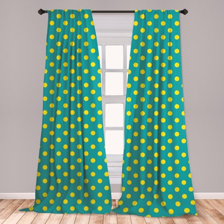 Yellow and Blue Curtains 2 Panels Set, Big Vintage Polka Dots Pattern Nostalgic Spotted Pastel Design, Window Drapes for Living Room Bedroom, Teal Yellow, by Ambesonne ()