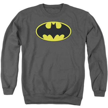 BATMAN/CLASSIC BAT LOGO - ADULT CREWNECK SWEATSHIRT - CHARCOAL - MD