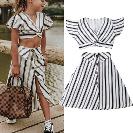 Child Kids Baby Girls Ruffled Crop Tops Shirt + A-lined Button Down Stripes Skirt Sundress Outfit