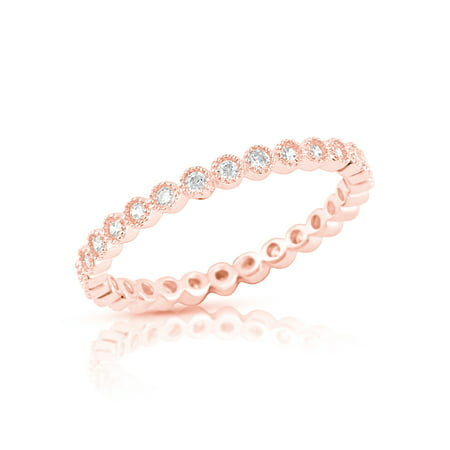 Rose Gold Tone Sterling Silver Simulated Diamond Stackable Eternity Ring - Size 4