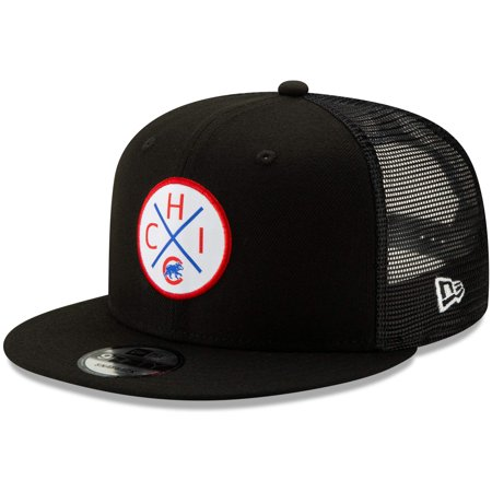 Chicago Cubs New Era Vert Trucker 9FIFTY Adjustable Snapback Hat - Black - OSFA Black Adjustable Trucker Hat
