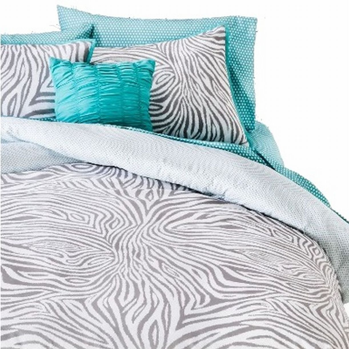 Queen Bed In Bag Gray Zebra Stripe Comforter Sheets Shams & Pillow