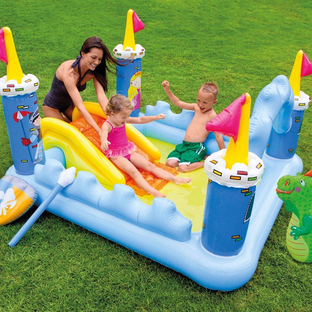 Intex Kids Inflatable Backyard Fantasy Castle Water Slide Play Park Pool  Center Image 4 Of 6